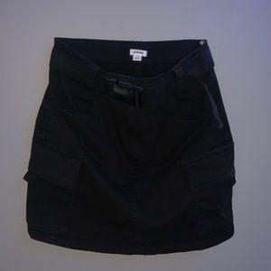 Black cargo mini skirt